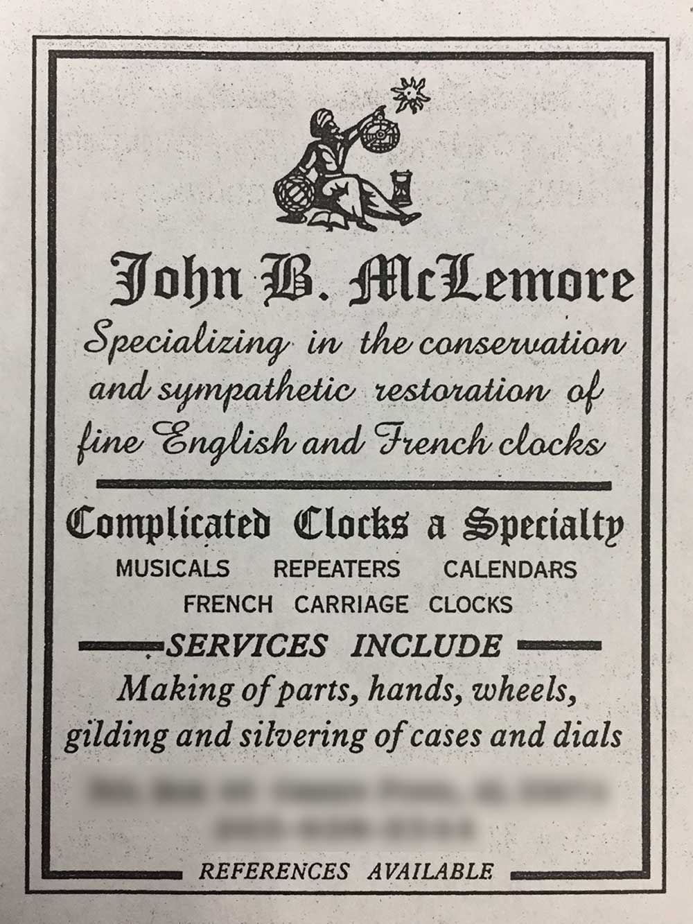 John B. McLemore's 1999 advertisement in the NAWCC's Mart & Highlights publication.