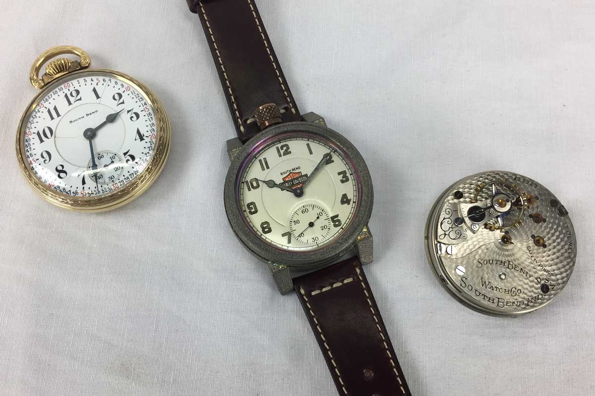 Vortic Watch Co. Harley Davidson wristwatch with a South Bend Watch Co. pocket watch and movement.