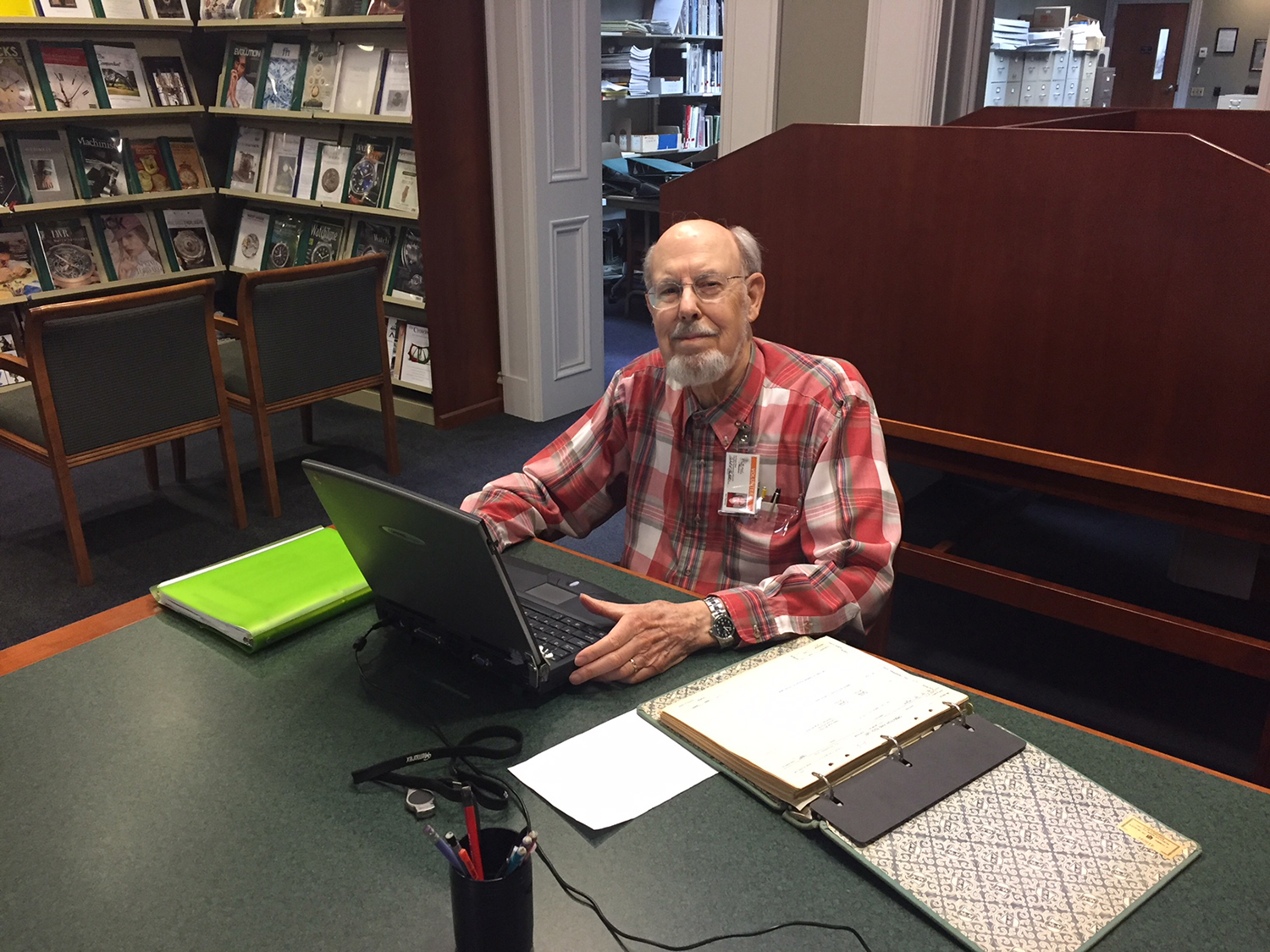Robert Hostetter worked for Hamilton Watch Co. from 1957 to 1997 starting as a draftsmen and then manufacturing engineer. Hostetter volunteers every Tuesday to archive material for the NAWCC Museum Library & Research Center.