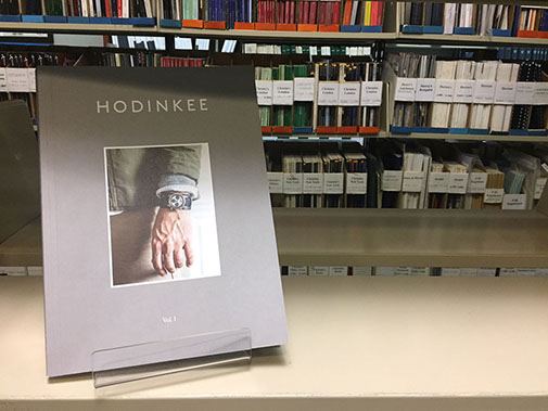 HODINKEE Magazine Volume 1 sitting on a shelf at the Library & Research Center at the National Watch & Clock Museum in Columbia, PA