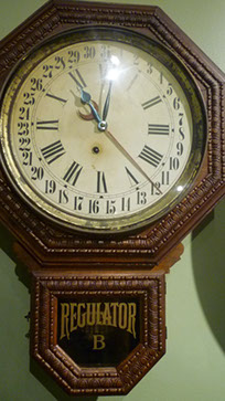 "Here is a similar and clearly marked ""Regulator"" timepiece on display at the NAWCC Museum. Photo by Adam Harris. Courtesy of the National Watch & Clock Museum. Adam Harris."