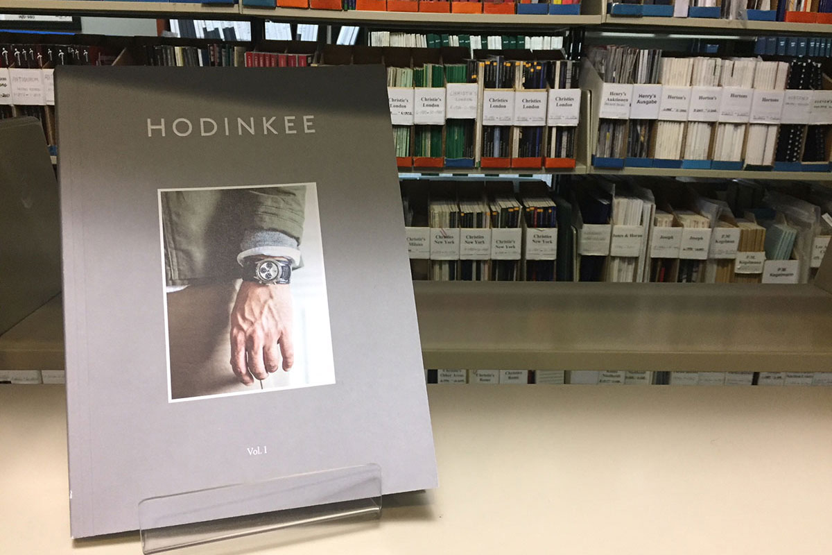 HODINKEE Magazine Volume 1 sitting on a shelf at the Library & Research Center at the National Watch & Clock Museum in Columbia, PA. Photo by Keith Lehman