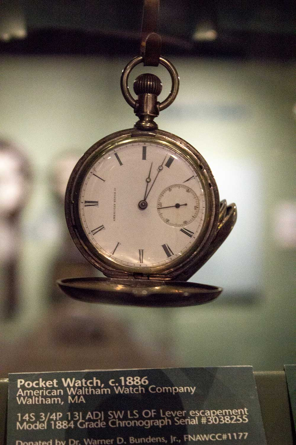 A pocket watch, ca. 1886, from the American Waltham Watch Company at the National Watch & Clock Museum