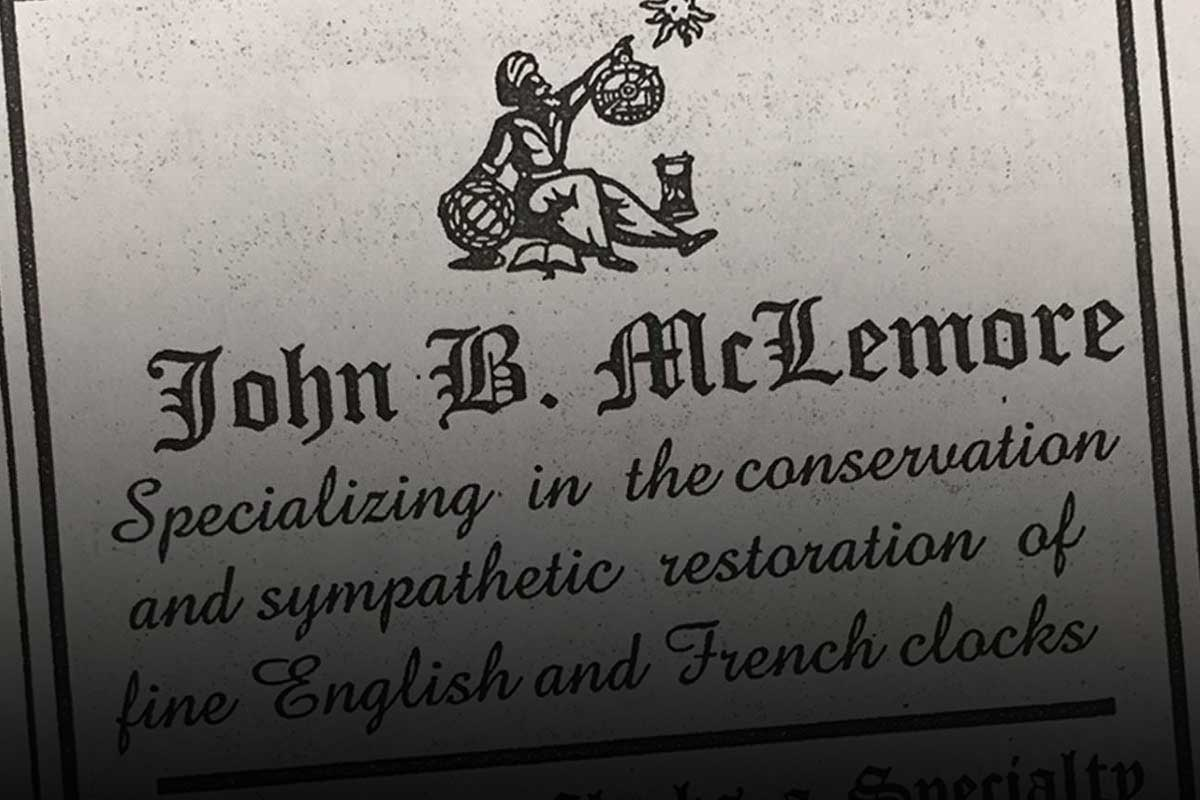 John B. McLemore's 1999 advertisement in the NAWCC's Mart & Highlights publication