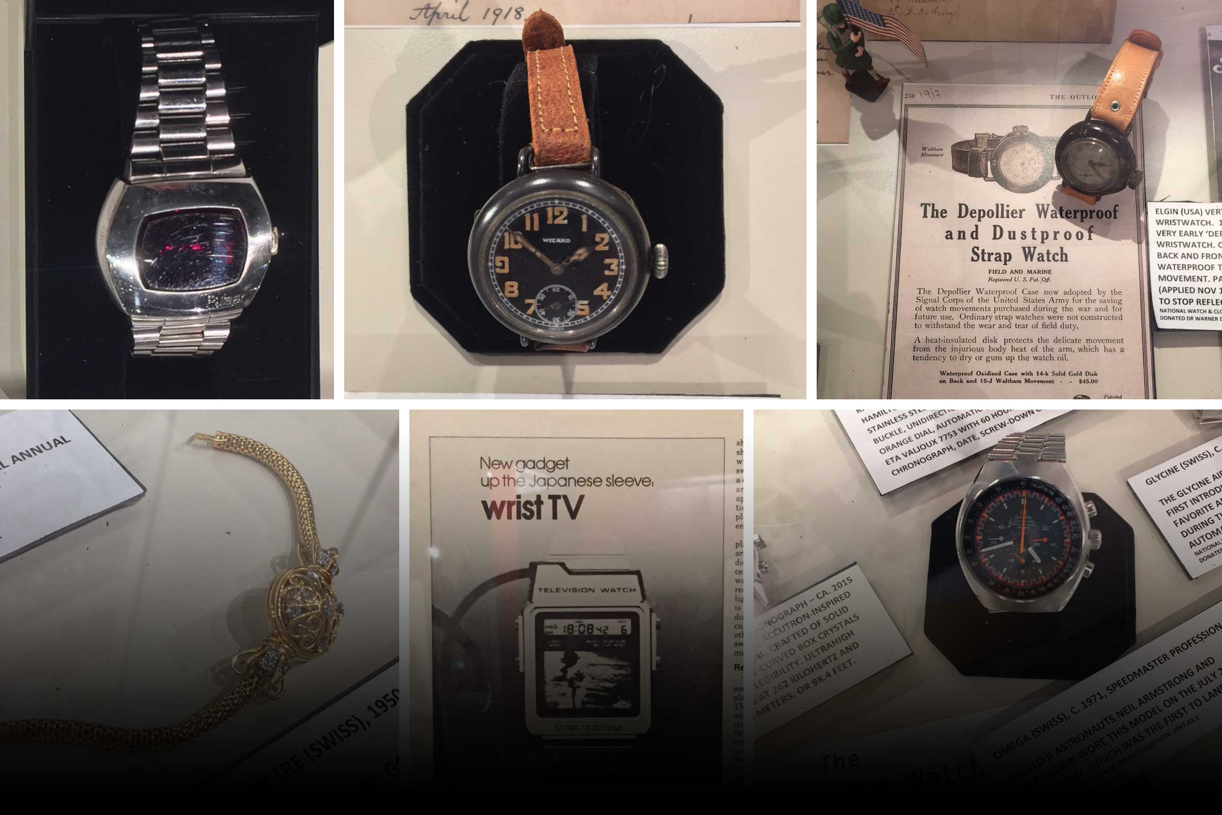 Collage of 5 watches and an advertisement