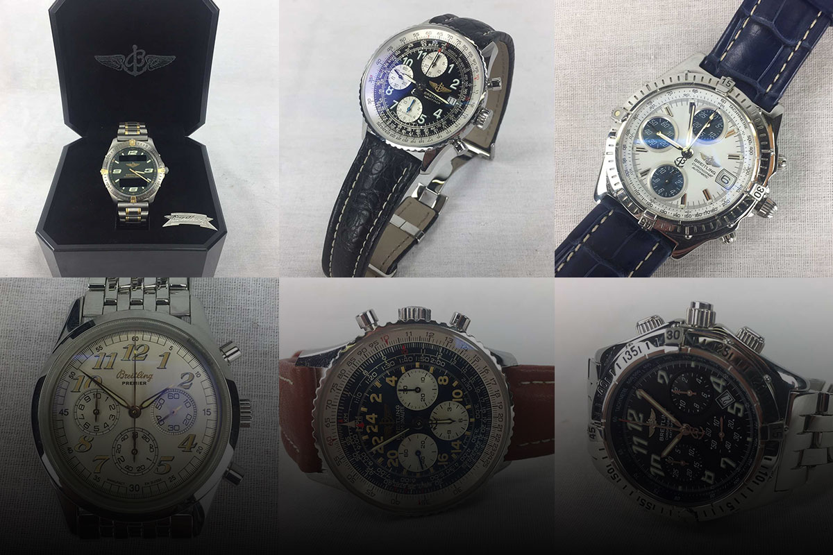 Collage of 6 Breitling watches