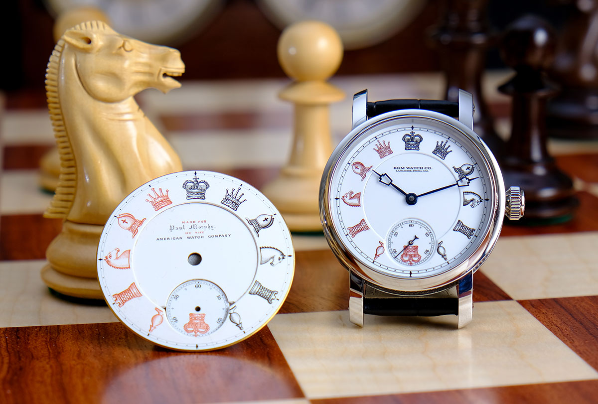 The original dial for Paul Morphy's watch beside the PS-801-CH
